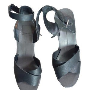 Dolce Vita black chunky heel peep toe shoes